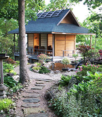 Image gallery japanese garden buildings for Japanese style garden buildings